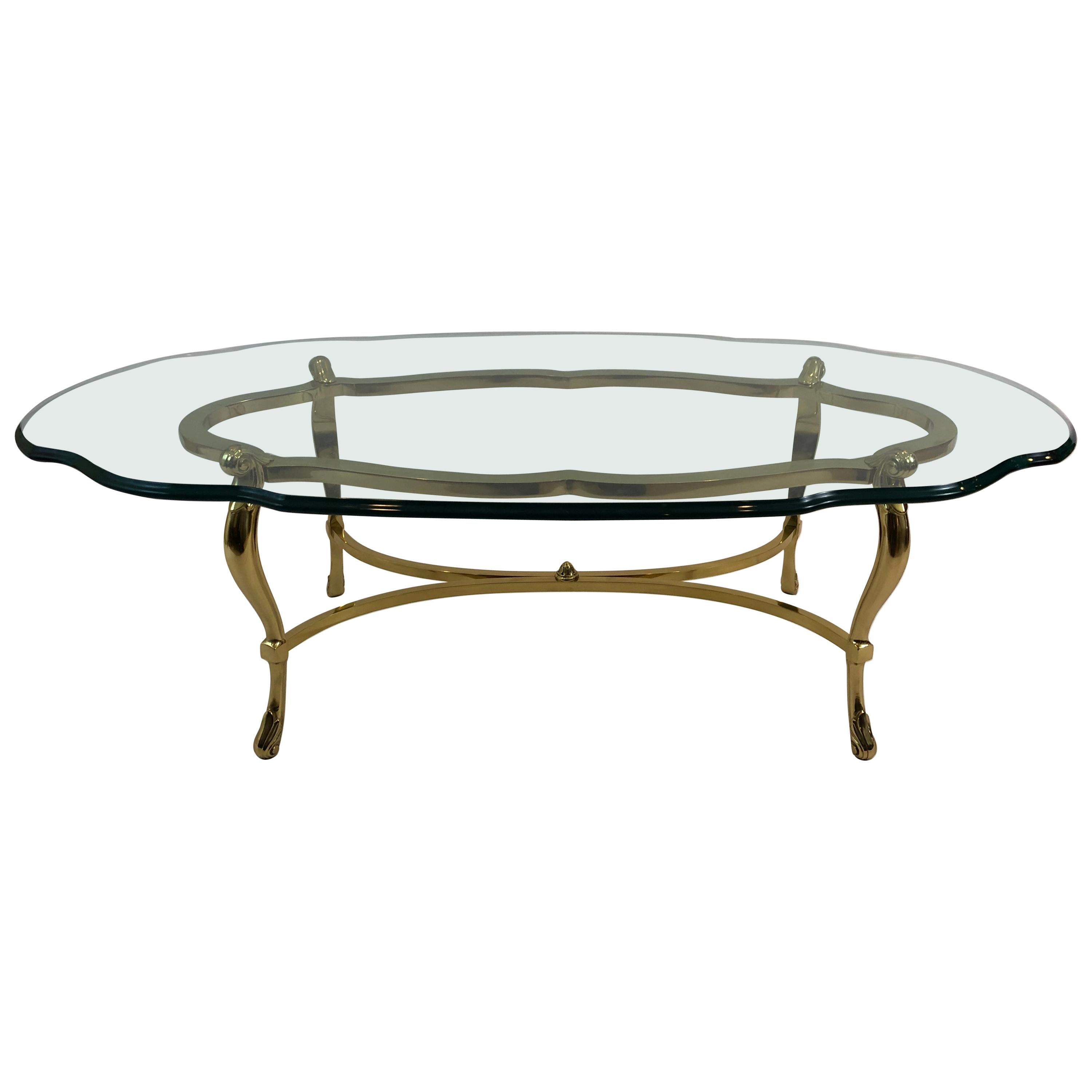 Super Glam LaBarge Brass & Glass Oval Coffee Table