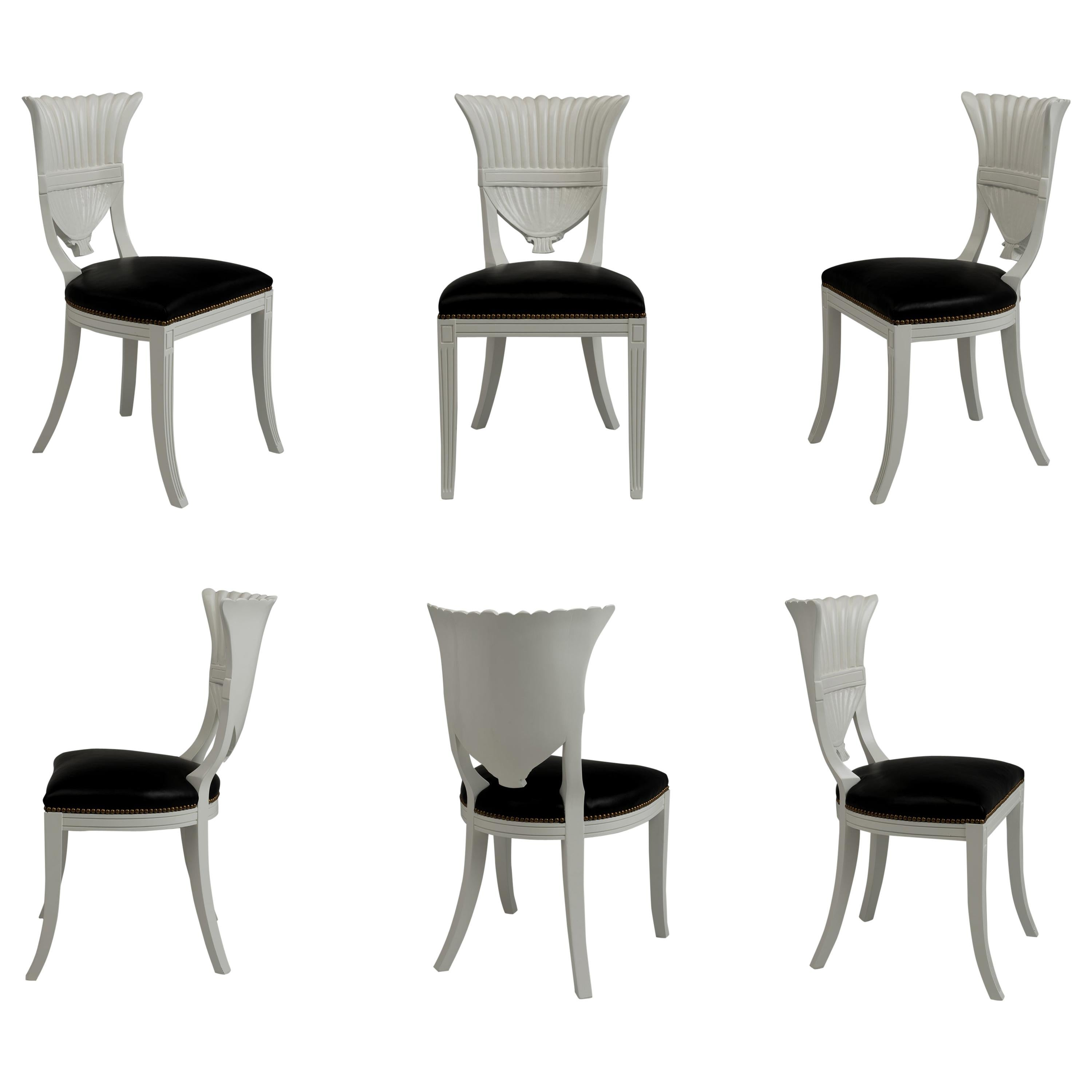 Set Of Six White Lacquer Dining Chairs At 1stdibs