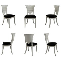 Super Glam Set of 6 White Lacquer Hollywood Regency Dining Chairs