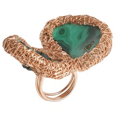 Super Green Double Stone Malachite & Rose Statement Ring Sheila Westera in Stock