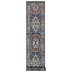 Super Kazak Blue Geometric Design Hand Knotted Runner Oriental Rug