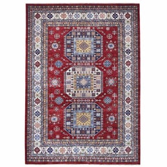 Super Kazak Pure Wool Red Geometric Design Hand Knotted Oriental Rug