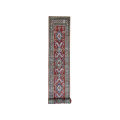 Super Kazak Red Geometric Design Pure Wool Hand-Knotted Extra Large Runner Rug