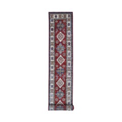 Super Kazak Red Geometric Design Pure Wool Hand-Knotted Xl Runner Rug