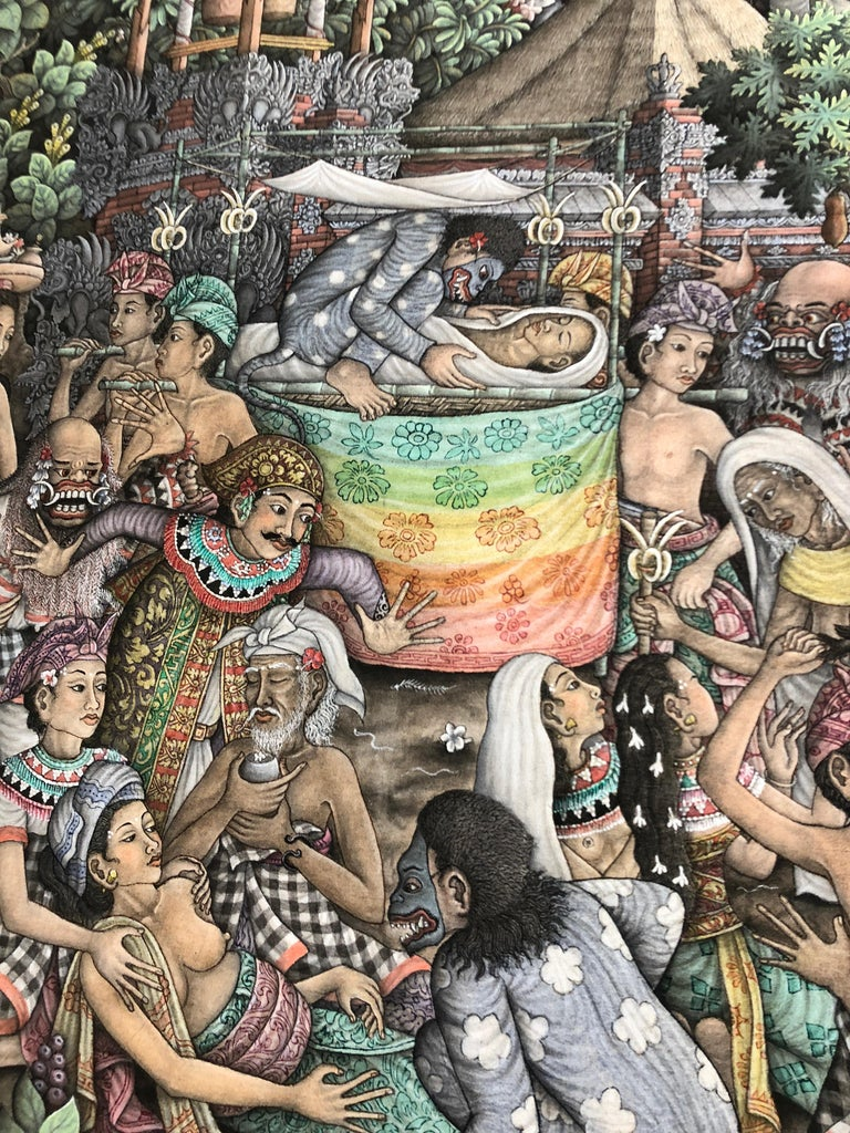 Super Large Spectacular Incredibly Detailed Balinese Original Painting For Sale 5