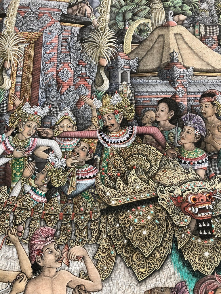 Super Large Spectacular Incredibly Detailed Balinese Original Painting For Sale 6