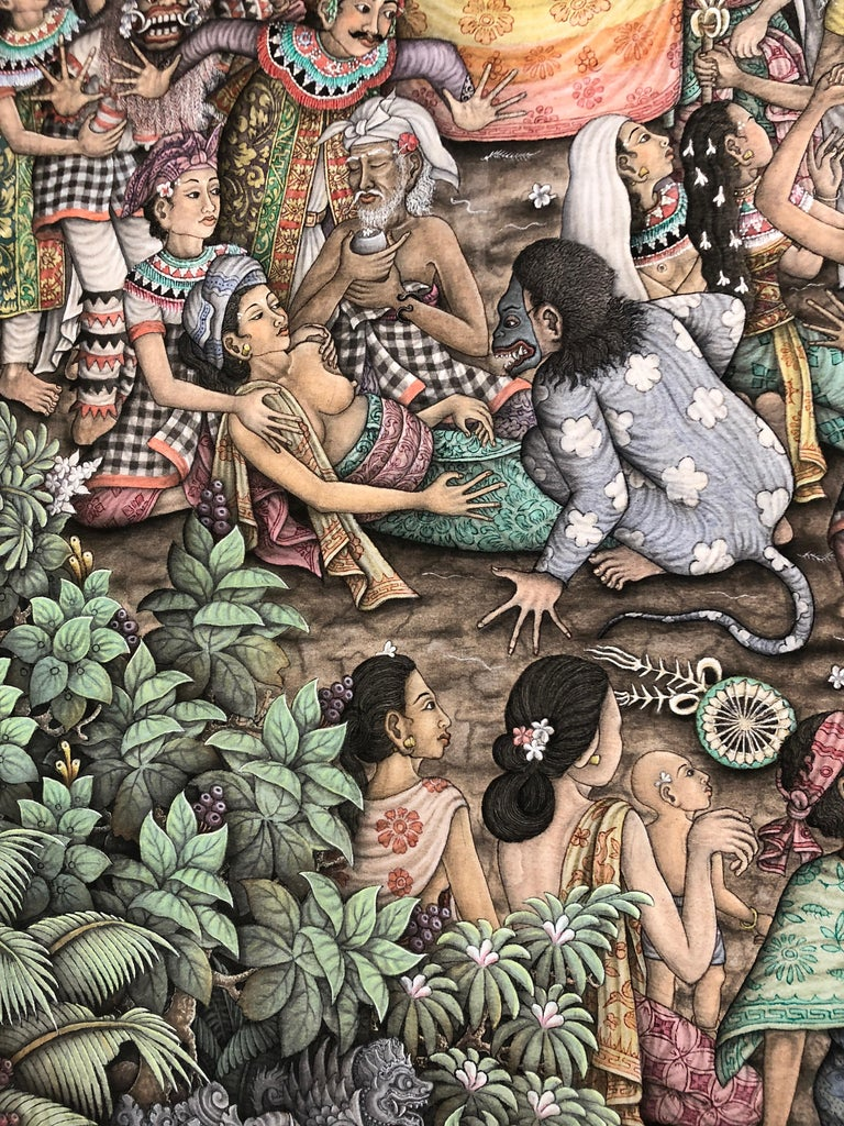 Super Large Spectacular Incredibly Detailed Balinese Original Painting In Excellent Condition For Sale In Hopewell, NJ