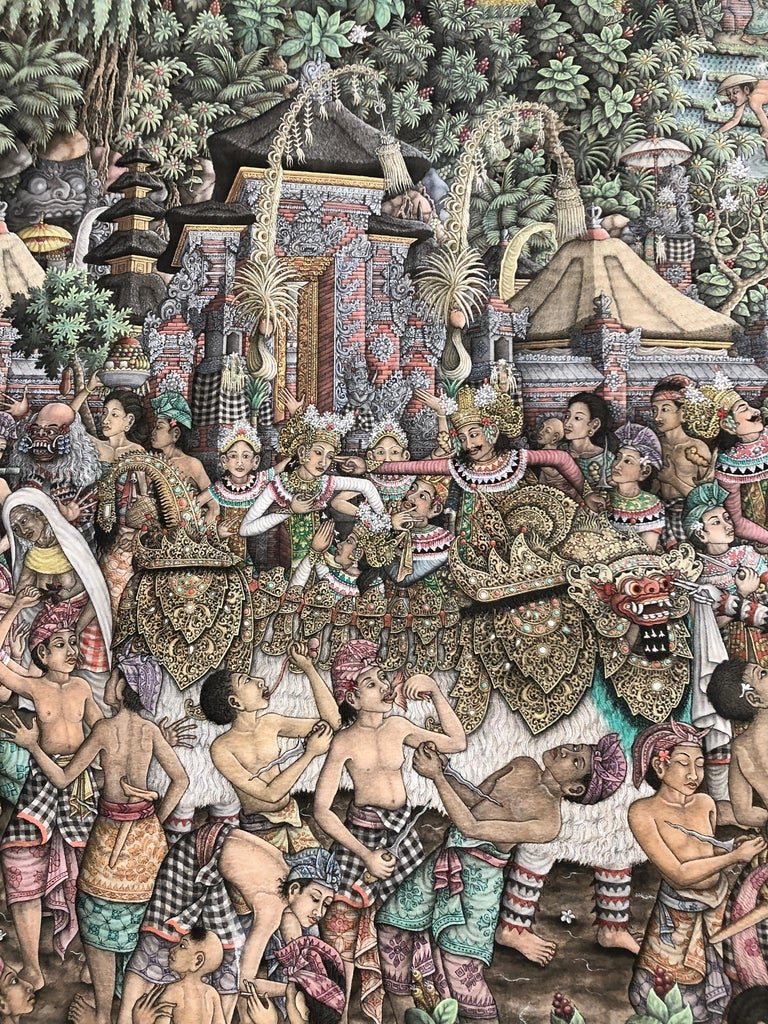 Super Large Spectacular Incredibly Detailed Balinese Original Painting For Sale 1