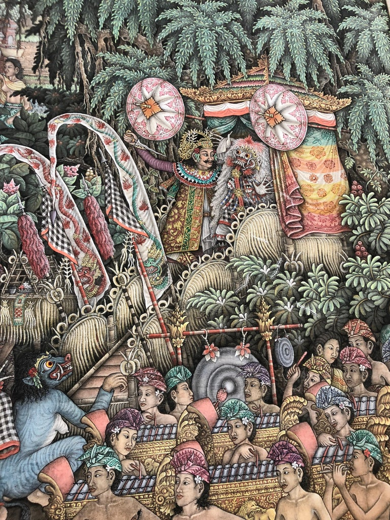 Super Large Spectacular Incredibly Detailed Balinese Original Painting For Sale 2