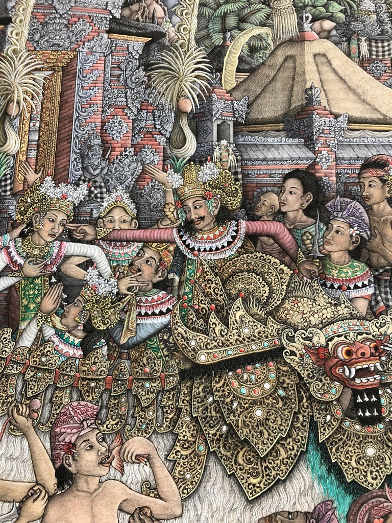 Super Large Spectacular Incredibly Detailed Balinese Original Painting For Sale 3