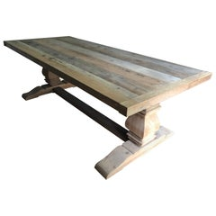 Super Large Wonderfully Rustic Handcrafted Trestle Farm Table Dining Table