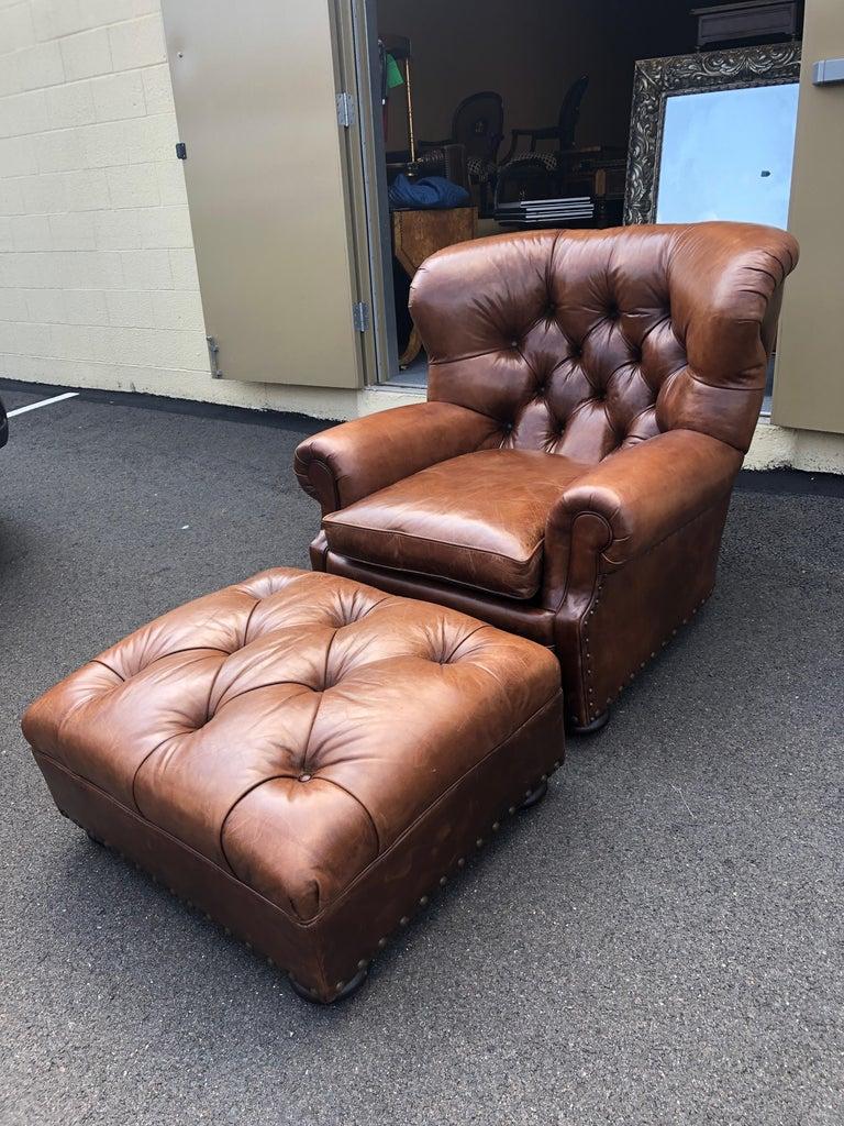 Terrific Super Luxe Ralph Lauren Tufted Leather Writers Club Chair Ottoman Machost Co Dining Chair Design Ideas Machostcouk
