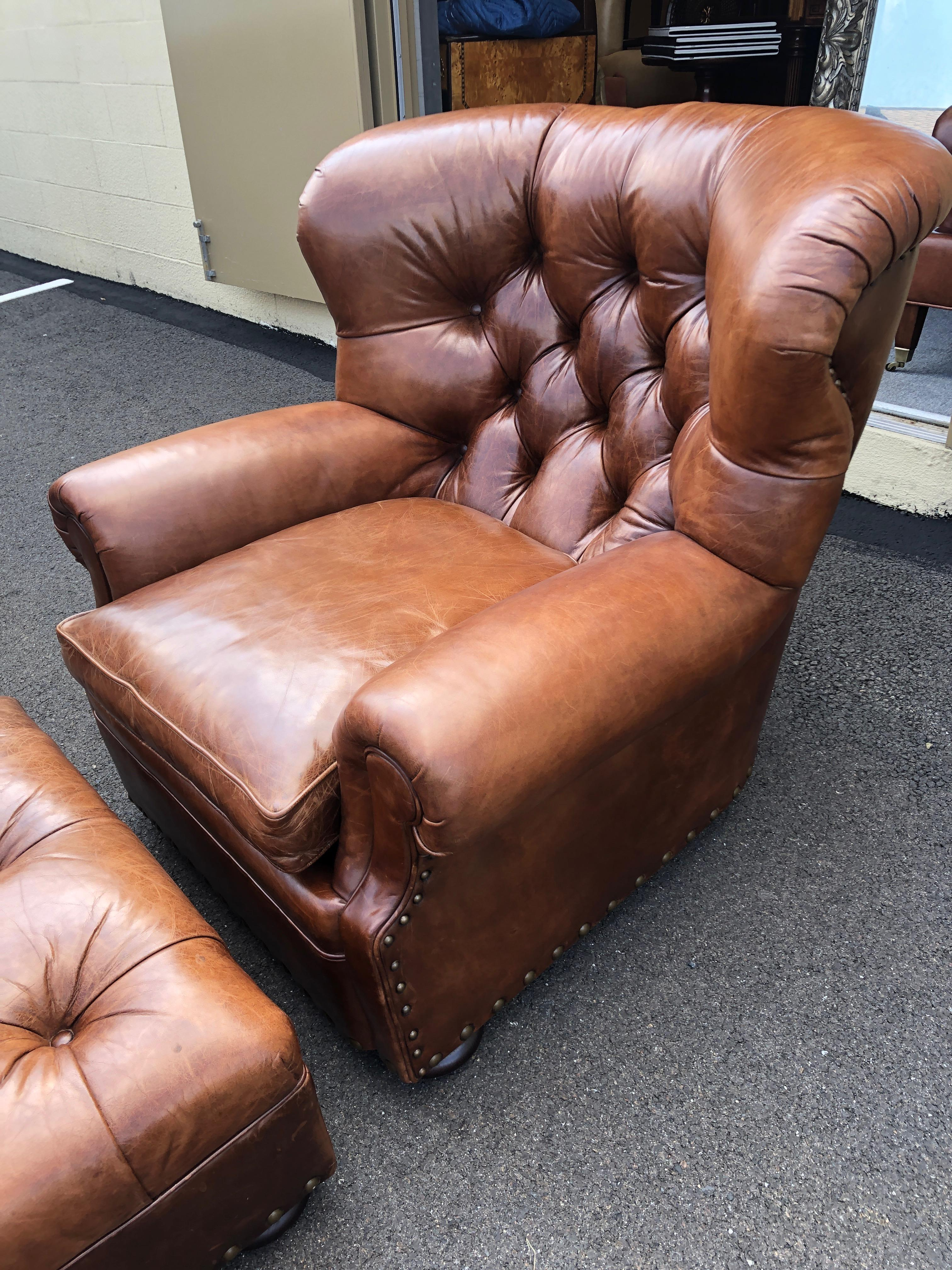 Super Luxe Ralph Lauren Tufted Leather Writer S Club Chair Ottoman