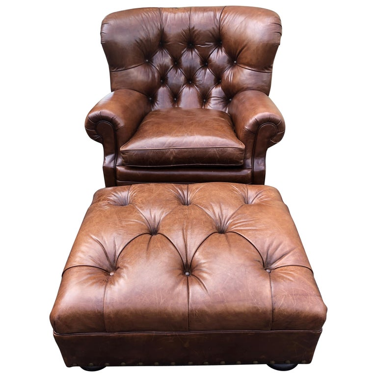 Swell Super Luxe Ralph Lauren Tufted Leather Writers Club Chair Ottoman Alphanode Cool Chair Designs And Ideas Alphanodeonline