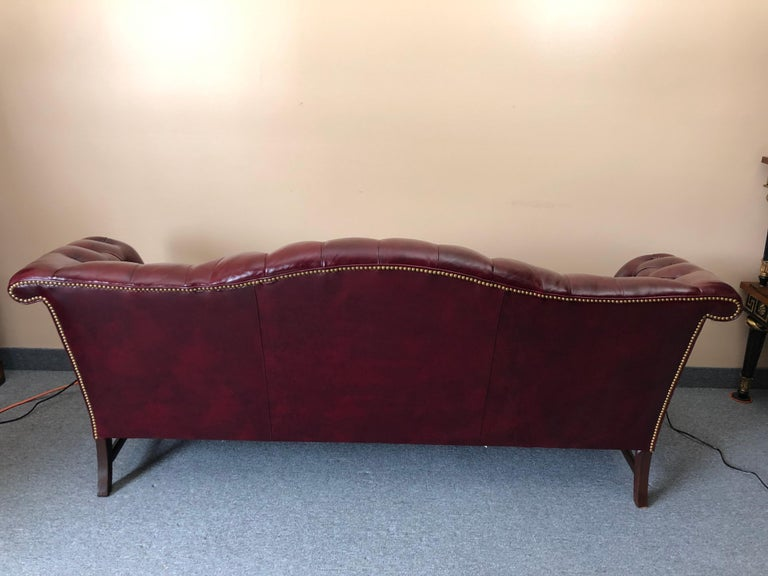 Super Luxurious Hancock & Moore Maroon Tufted Leather Chesterfield Style Sofa For Sale 4
