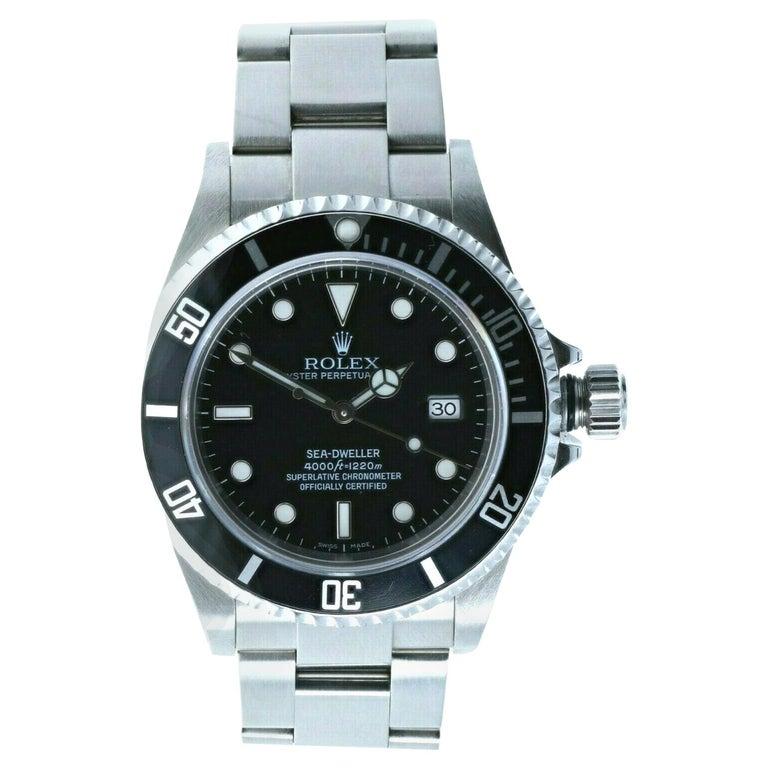 Super Mint Rolex 16600 Sea-Dweller Black Dial Men's Watch Box & Paper For Sale
