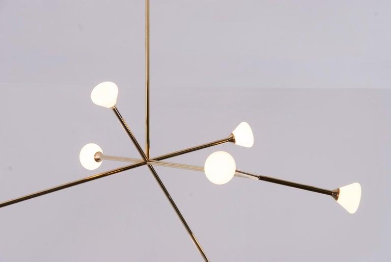 Modern Super Nova Chandelier, Contemporary Geometric Branching Brass Light Fixture For Sale
