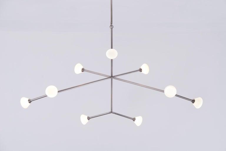 Super Nova Chandelier, Contemporary Geometric Branching Brass Light Fixture For Sale 1