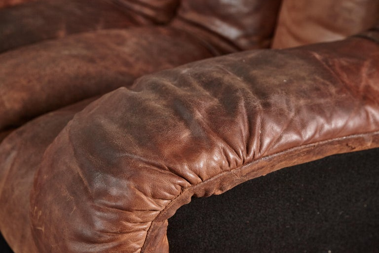 Super Patinated De Sede Ds-600 Modular Sectional Leather Non Stop Sofa, 1970s For Sale 5