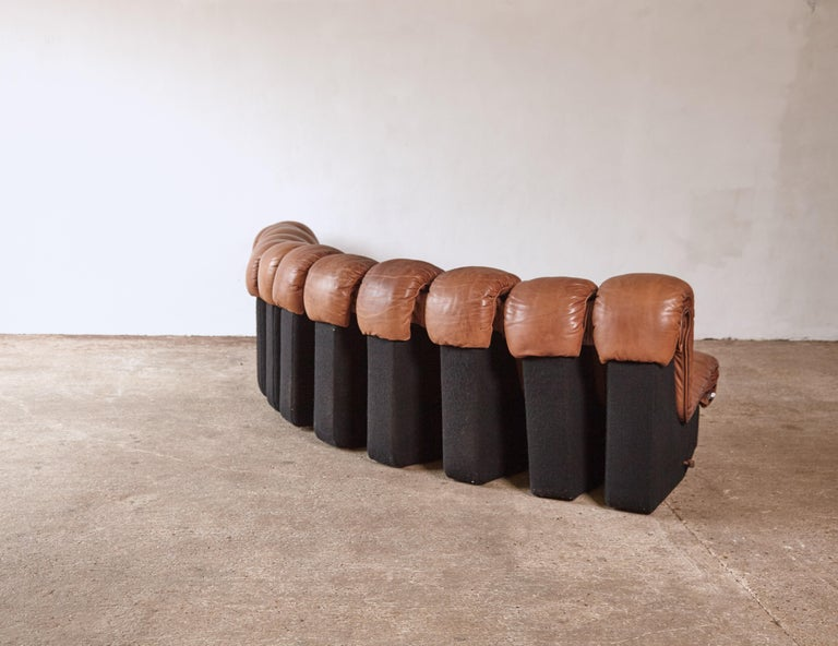 Super Patinated De Sede DS-600 Modular Sectional Leather Non Stop Sofa, 1970s For Sale 9