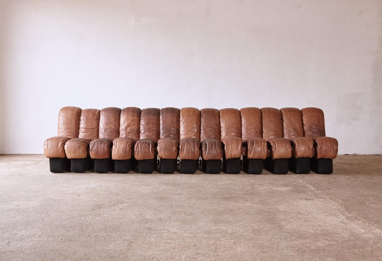 20th Century Super Patinated De Sede DS-600 Modular Sectional Leather Non Stop Sofa, 1970s For Sale