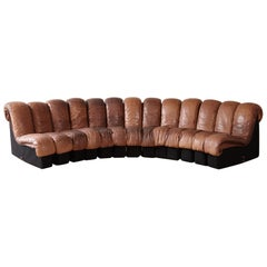 Super Patinated De Sede DS-600 Modular Sectional Leather Non Stop Sofa, 1970s