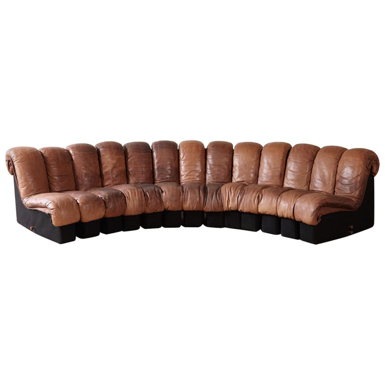 Super Patinated De Sede DS-600 Modular Sectional Leather Non Stop Sofa, 1970s For Sale