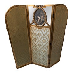 Super Pretty French Giltwood Mirrored and Silk Brocade 3-Panel Folding Screen