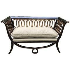 Super Pretty Hollywood Regency Ebonized and Gilded Settee Loveseat