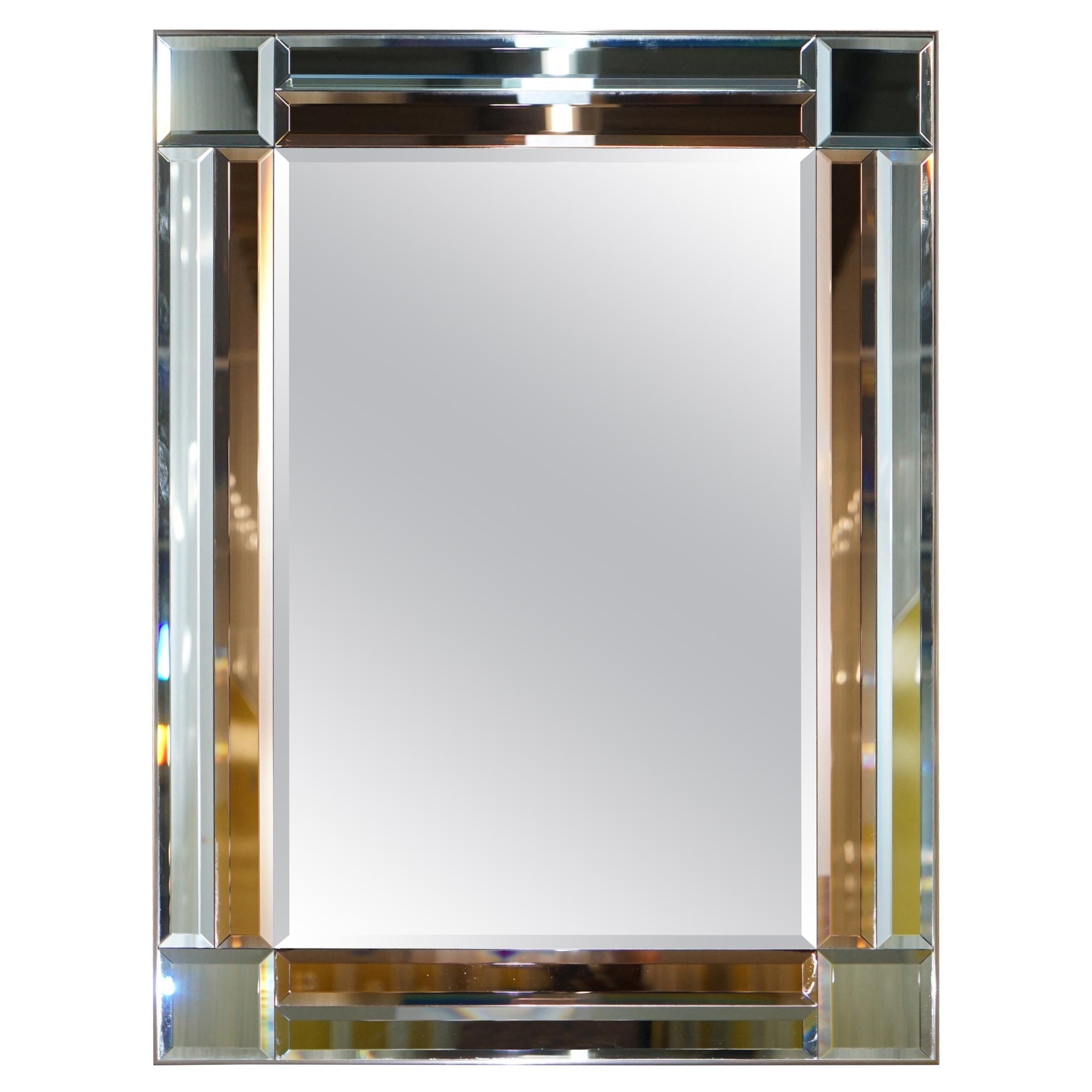 Super Rare 1930s Peach Glass French Art Deco Beveled Mirror Heavily Decorated
