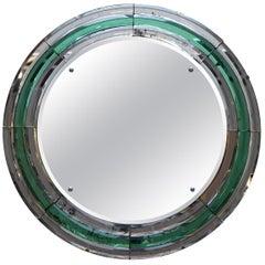 Super Rare Art Deco circa 1930s Peach & Murano Emerald Glass Round Wall Mirror