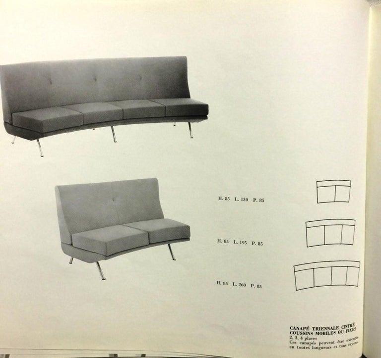 Super Rare Four-Seat Elliptical 'Triennale' Sofa by Zanuso for Arflex, 1951 For Sale 2