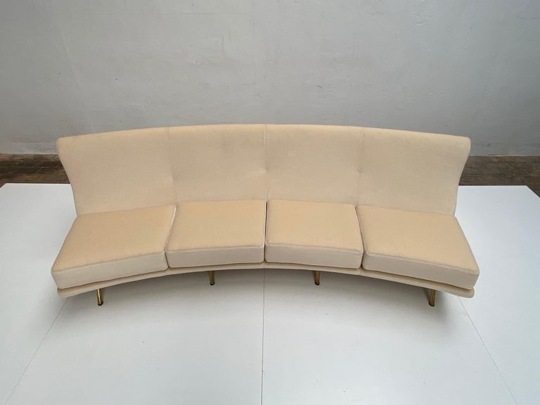 Super Rare Four-Seat Elliptical 'Triennale' Sofa by Zanuso for Arflex, 1951 For Sale 3