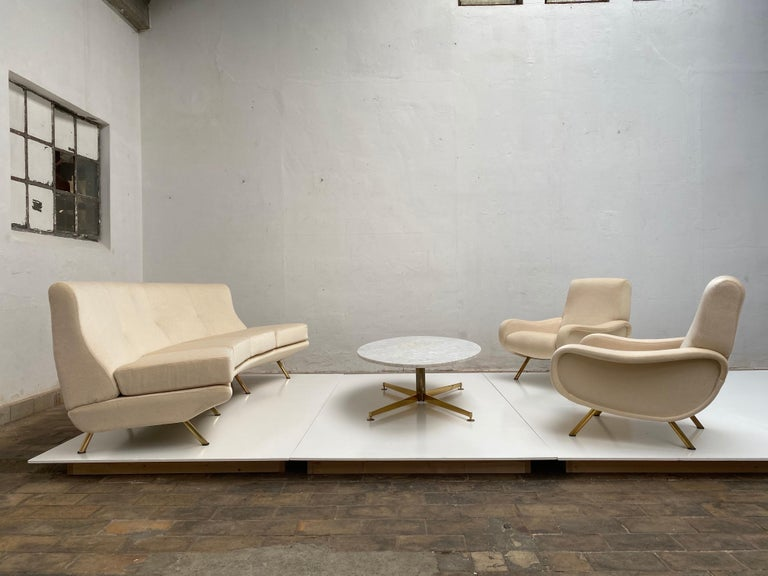 Super Rare Four-Seat Elliptical 'Triennale' Sofa by Zanuso for Arflex, 1951 For Sale 4