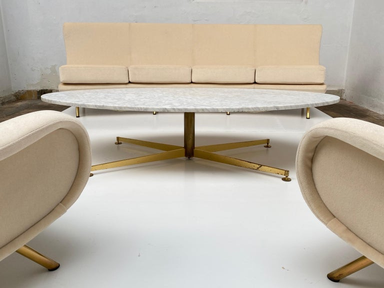 Super Rare Four-Seat Elliptical 'Triennale' Sofa by Zanuso for Arflex, 1951 For Sale 5