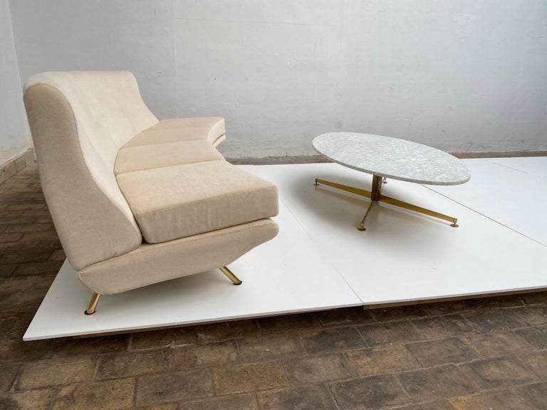 Super Rare Four-Seat Elliptical 'Triennale' Sofa by Zanuso for Arflex, 1951 For Sale 11