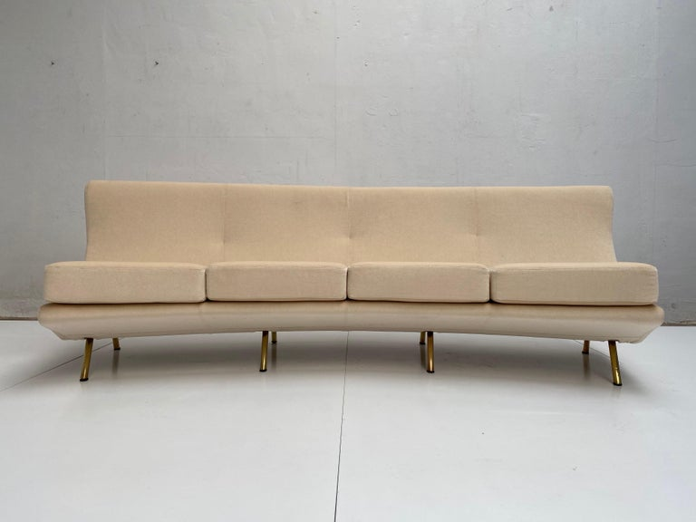 Mid-Century Modern Super Rare Four-Seat Elliptical 'Triennale' Sofa by Zanuso for Arflex, 1951 For Sale