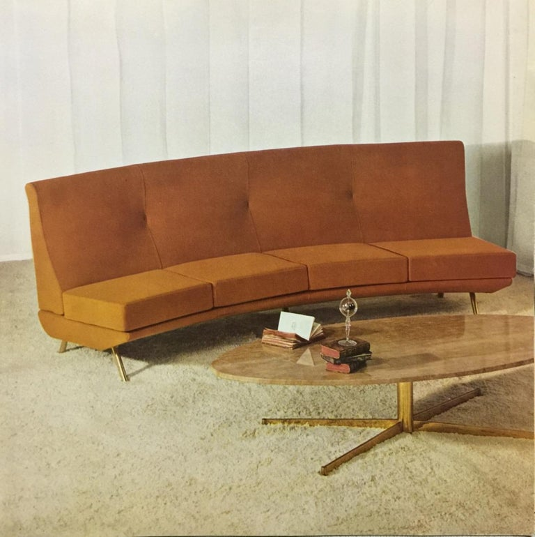 Brass Super Rare Four-Seat Elliptical 'Triennale' Sofa by Zanuso for Arflex, 1951 For Sale