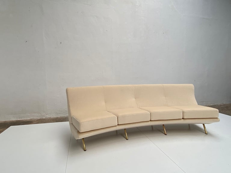 Super Rare Four-Seat Elliptical 'Triennale' Sofa by Zanuso for Arflex, 1951 For Sale 1