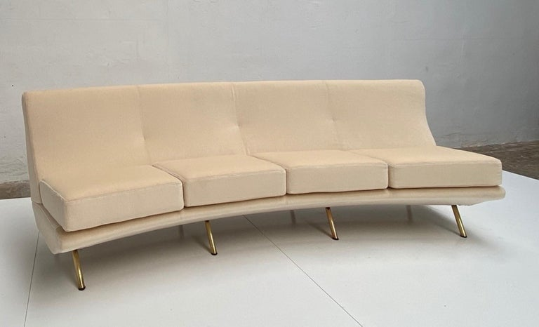 Super Rare Four-Seat Elliptical 'Triennale' Sofa by Zanuso for Arflex, 1951 For Sale