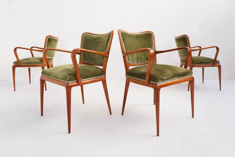 Mid-Century Modern Super Rare Osvaldo Borsani Chairs, 1950 Atelier Borsani Varedo For Sale