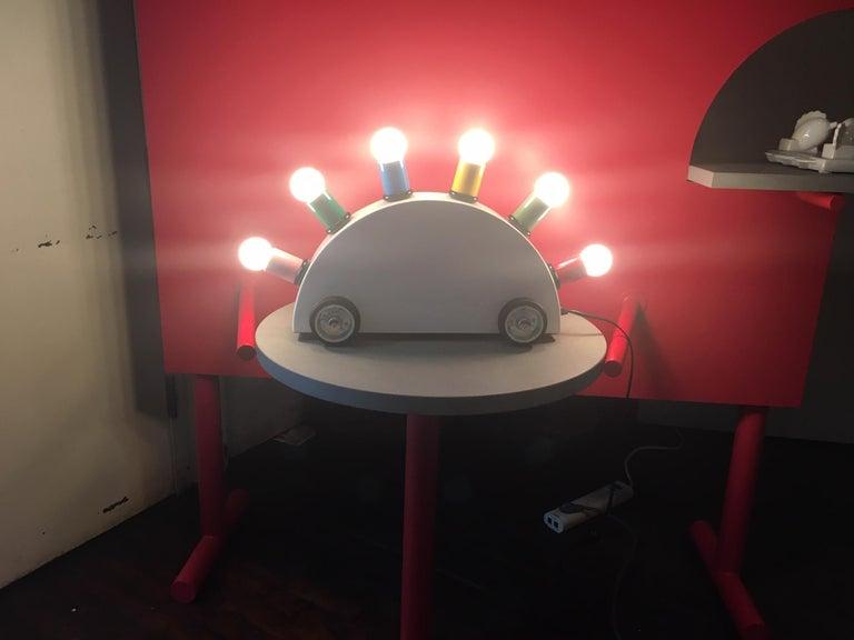 Post-Modern Martine Bedin White Super Table Lamp w/ Colored Lamp Holders for Memphis Srl For Sale