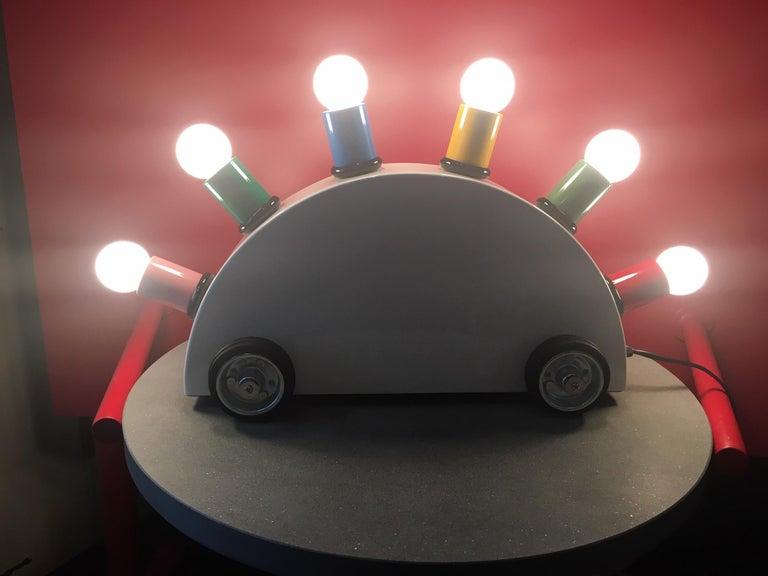 Italian Martine Bedin White Super Table Lamp w/ Colored Lamp Holders for Memphis Srl For Sale