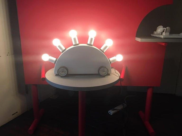 Italian Martine Bedin White Super Table Lamp for Memphis Srl For Sale