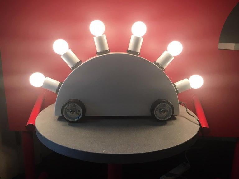 Painted Martine Bedin White Super Table Lamp for Memphis Srl For Sale