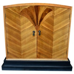 Super Stylish Art Deco Walnut Linen Cupboard
