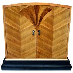 Super Stylish Art Deco Walnut Linen Cupboard