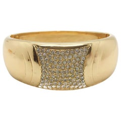 Super Stylish Christian Dior 1990s Gold Plate Rhinestone Cuff
