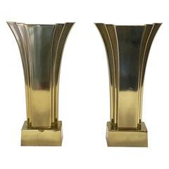 Super Stylish Pair of Mid Century Art Deco Brass Table Lamps by Stiffel