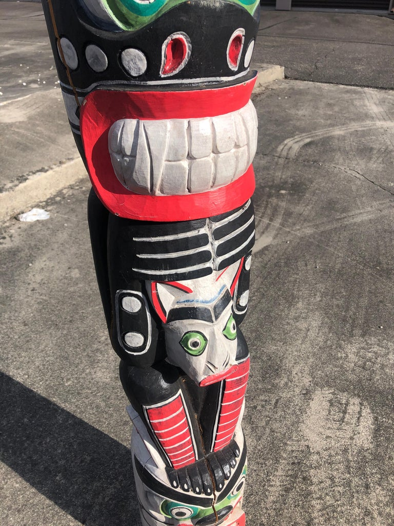 Super Tall Impressive Hand Carved and Painted Winged TOTEM Pole For Sale 2